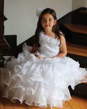 White Asymmetric Beading Ruffled Ball Gown Pageant Dress for Girls