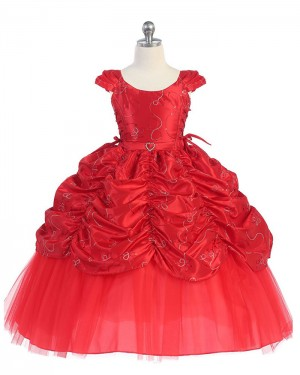 Red Ruffled Satin Scoop Ball Gown Pageant Dress for Girls with Cap Sleeves