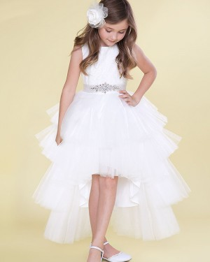 White Pleated Tulle High Low Girl's Pageant Dress with Beading Belt