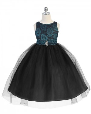 Satin and Tulle Round Neck Black Girl's Pageant Dress