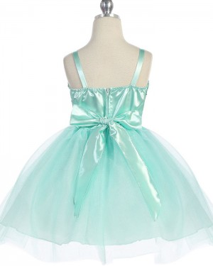 Sequined Tulle Square Mint Girl's Pageant Dress with Belt