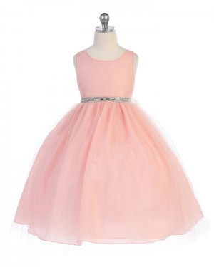 Pink Tulle Scoop Neck Dusty Ball Gown Pageant Dress with Beading Belt