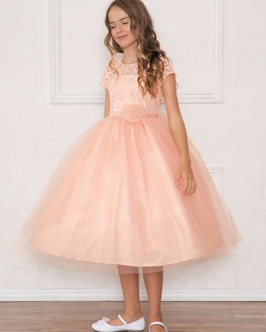Pink Lace Bodice Round Neck Girl's Pageant Dress with Short Sleeves
