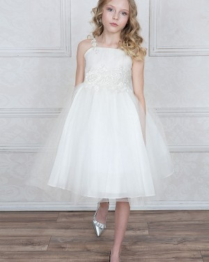 Ivory Appliqued Tulle Square Girl's Pageant Dress