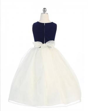 White Simple Tulle Black and Girls Dress with Bowknot
