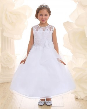 Lace Bodice White Jewel Sheer Prince Dress for Girls