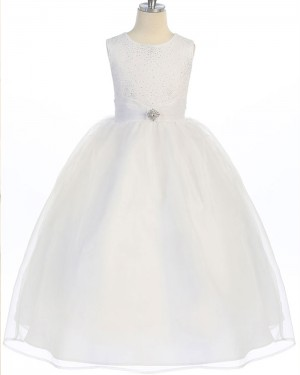 Ivory Round Neck Beading and Sequin Bodice Girl's Pageant Dress