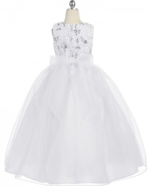 Ivory A-line Sequined Girl's Pageant Dress with Flower