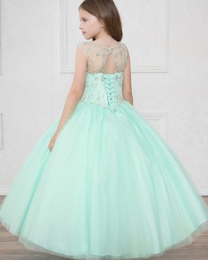 Beading Tulle Sheer Mint Ball Gown Pageant Dress for Girls