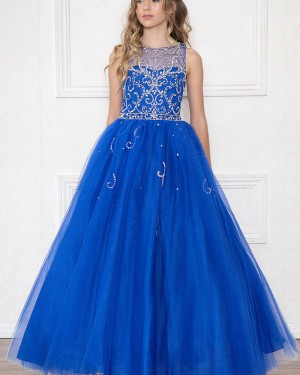 Royal Blue Beading Jewel Sheer Tulle Girl's Pageant Dress