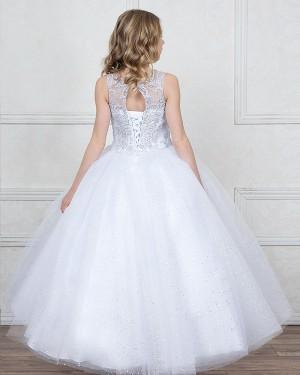 Jewel Sheer White Sparkling Beading Girl's Pageant Dress