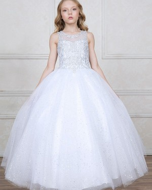 Jewel Sheer White Sparkling Beading Girl's Pageant Dress