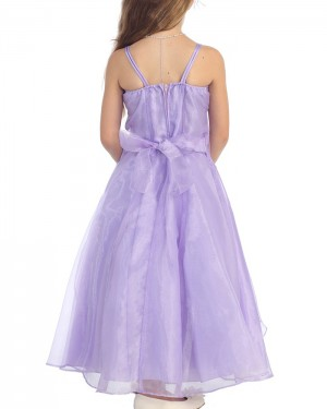 Lavender Square Beading Ruffled Girl's Pageant Dress with Flower