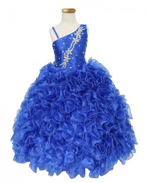 Ruffled Blue Asymmetric Beading Girl's Pageant Dress