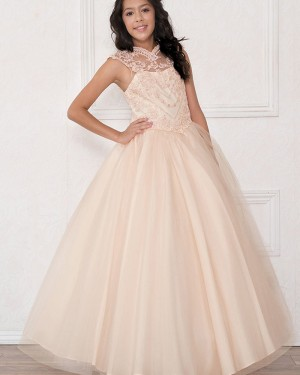 Lace High Neck Sheer Ball Gown Girl's Pageant Dress