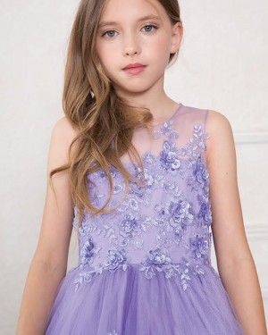 Sheer Neck Purple Appliqued Girl's Pageant Dress