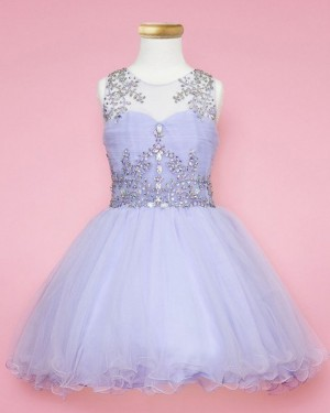 Elegant Sheer Beading Lavender Girl's Pageant Dress