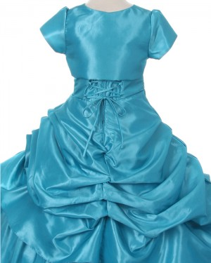 Ruffled Beading Green Taffeta Girl's Pageant Dress with Jacket