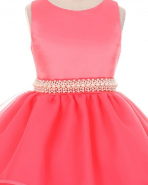Red Layered Jewel Beading Girl's Pageant Dress