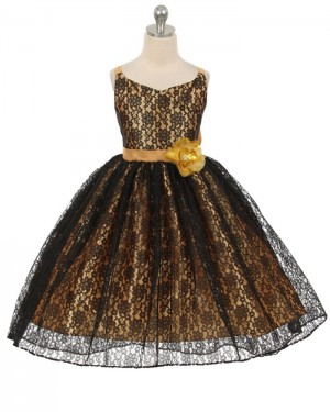 Black Lace V-neck Girl's Pageant Dress with Flower