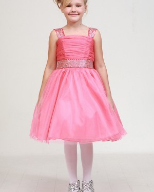 Ruched Beading Pink Square Girl's Pageant Dress