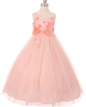Handmade Flowers Sheer Neck Pink Girl's Pageant Dress