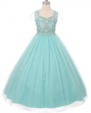 Scoop Girl's Green Beading Pageant Dress with Short Sleeves