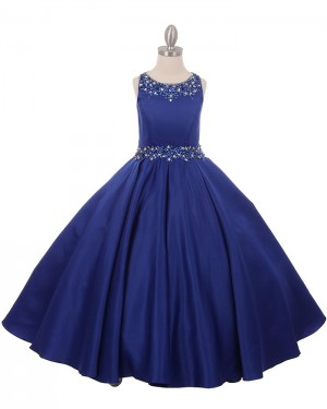 Satin Blue Jewel Beading Pleated Girl's Pageant Dress