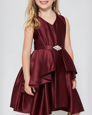 Satin Pleated V-neck Burgundy Girl's Pageant Dress with Belt
