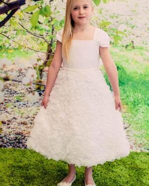 Ivory Flower Square Neck Girl's Pageant Dress