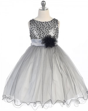Blue Tulle Beading Pageant Dress for Girls with Flower