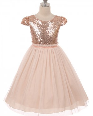 Gold Bodice Sequined Tulle Girl's Pageant Dress