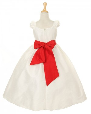 Ruffled Ball Gown Ivory Taffeta Girl's Pageant Dress with Belt