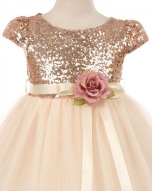 Sequined Bodice Gold Pageant Dress for Girls with Flower