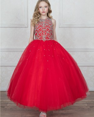 Red Tulle High Neck Beading Girl's Pageant Dress