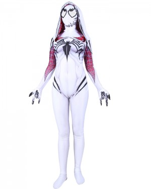 Halloween Hero White Woman Cosplay Spider-Gwen Venom Bodysuit HC010