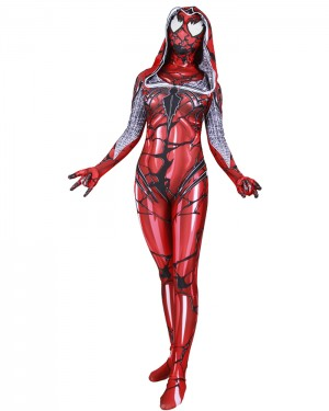 Halloween Hero Cosplay Red Woman Spider-Gwen Venom Bodysuit HC013