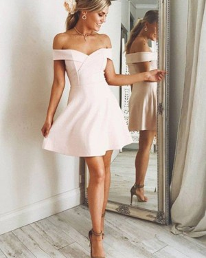Pearl Pink Satin Off the Shoulder Graduation Dress HD3350
