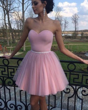 Simple Pleated Tulle Sweetheart Homecoming Dress with Beading Belt HD3353