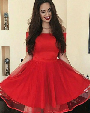 Simple Red Satin Off the Shoulder Homecoming Dress with Short Sleeves HD3355