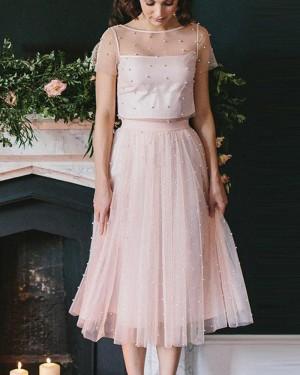 Jewel Two Piece Knee Length Pink Sheer Tulle Sleeved Graduation Dress HD3356