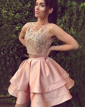 Jewel Blush Satin Two Piece Lace Bodice Homecoming Dress HD3357