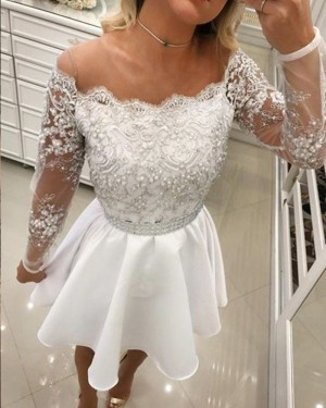Appliqued Bodice Chiffon White Off the Shoulder Lace Homecoming Dress with Long Sleeves HD3359