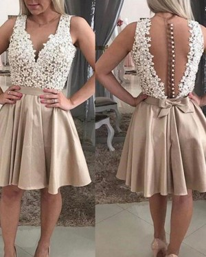 White and Chocolate Lace V-neck Bodice Satin Homecoming Dress HD3371