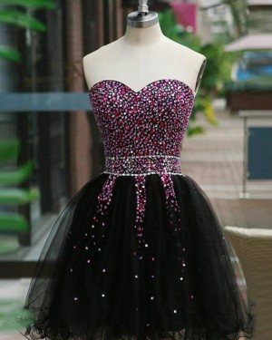 Beading Sweetheart Homecoming Dress with Black Skirt HD3375