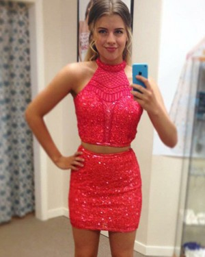 Red Tight High Neck Sequin Two Piece Club Dress HD3377