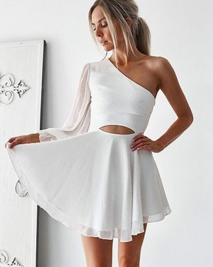 White Cutout Chiffon One Shoulder Homecoming Dress with Long Sleeve HD3379