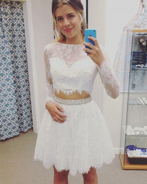 Jewel White Two Piece Sheer Lace Homecoming Dress with Long Sleeves HD3381