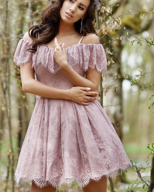Lavender Spaghetti Straps Lace Pleated Homecoming Dress HD3382