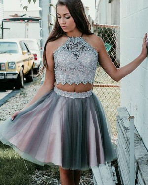 Pink and Grey Halter Neck Two Piece Lace Bodice Homecoming Dress HD3384